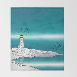Peggy's Point Lighthouse Throw Blanket