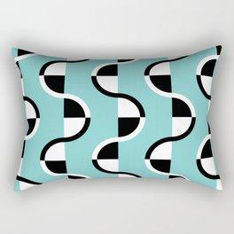 Geo Modern - Geometric Pattern Blue Black White Rectangular Pillow