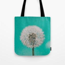 Green Blue Dandelion Tote Bag