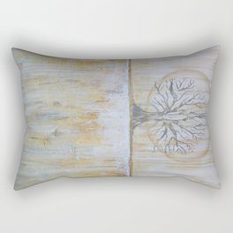 Solstice - Gold and Grey Textured Painting - Abstract Tree Landscape Rectangular Pillow