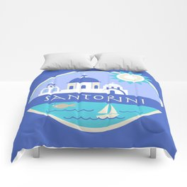 Santorini Greece Badge Comforters
