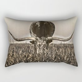 Old Photo of Longhorn Rectangular Pillow