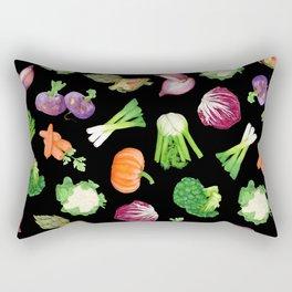Black veggies pattern | Vegetables illustration pattern Rectangular Pillow