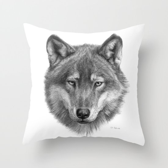 Wolf face G084 Throw Pillow