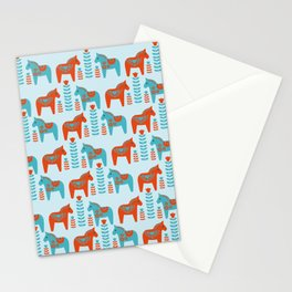 Scandinavian Folk Art Dola Horses and Flowers Pattern Stationery Cards
