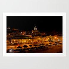 Lisbon by night Art Print