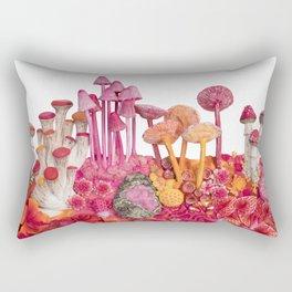 Pink Biodiversity : Mushrooms and Tropical Flowers Rectangular Pillow