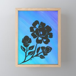 Rose Silhouette with Painted Blue Background Framed Mini Art Print