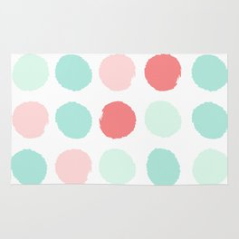 Painted dot abstract trendy colors gender neutral seaside coral tropical minimal Rug