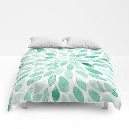Watercolor brush strokes - aqua Comforters