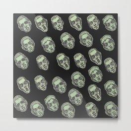 Green Faces Pattern - Black Metal Print