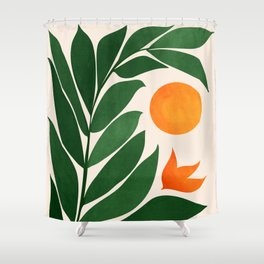 Tropical Forest Sunset / Mid Century Abstract Shapes Shower Curtain