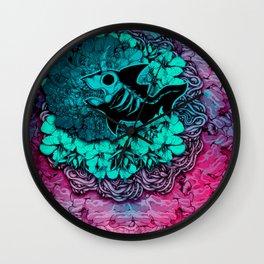 Unicorn Shark Blue Wall Clock