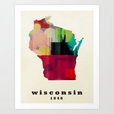 Wisconsin state map modern Art Print