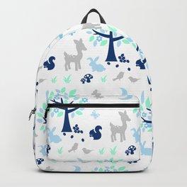 Woodland Animals Blue Backpack