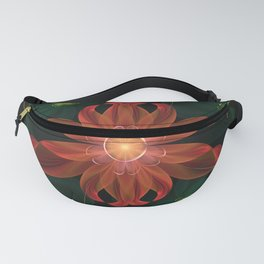 Beautiful Shining Red-Green Fractal Passion Flower Fanny Pack