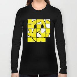 Acid Smiley Shuffle Puzzle Long Sleeve T-shirt