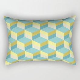 Lemony 3D cubes optical art pattern Rectangular Pillow
