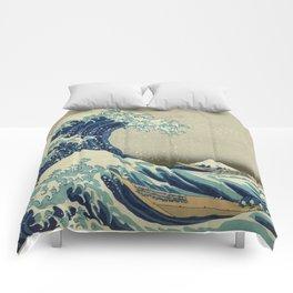 The Classic Japanese Great Wave off Kanagawa Print by Hokusai Comforters