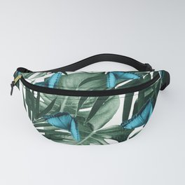Tropical Butterfly Jungle Leaves Pattern #5 #tropical #decor #art #society6 Fanny Pack