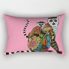 ring tailed lemur love pink Rectangular Pillow