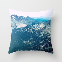 Three Sisters and Broken Top, Oregon Throw Pillow