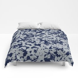Blue and Grey Floral Pattern - Broken but Flourishing Comforters