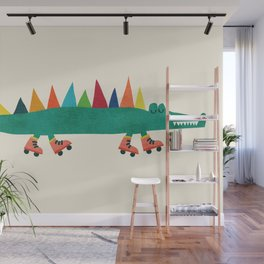 Crocodile on Roller Skates Wall Mural