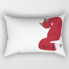 Red Tribal Fox Rectangular Pillow