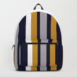 Modern Stripes in Mustard Yellow, Navy Blue, Gray, and White. Minimalist Color Block Backpack