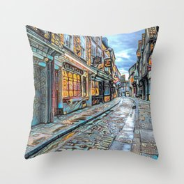 York Shambles Street Art Throw Pillow