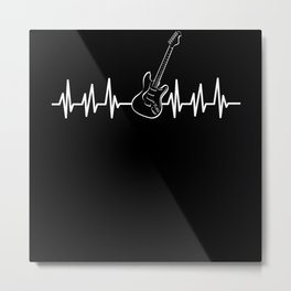 EKG Heartbeat Musical Instrument Guitar Metal Print