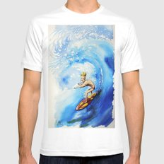 Surfer MEDIUM White Mens Fitted Tee