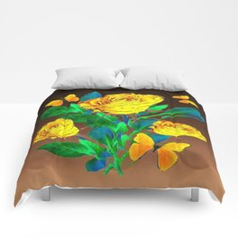 BROWN SHADES YELLOW SPRING ROSES & BUTTERFLIES Comforters