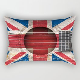 Old Vintage Acoustic Guitar with Union Jack British Flag Rectangular Pillow