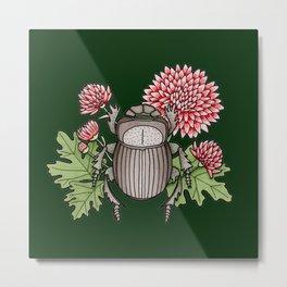 Beetle with Chrysanthemum - Dark Green Metal Print