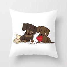 Valentine's Day Love Daschund Illustration Throw Pillow