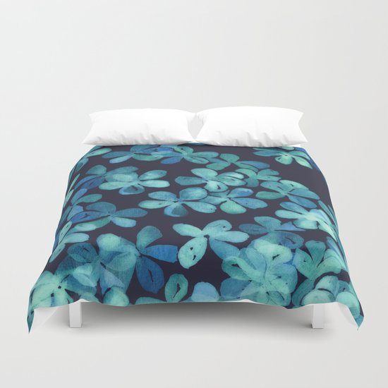 Hand Painted Floral Pattern in Teal & Navy Blue Duvet Cover