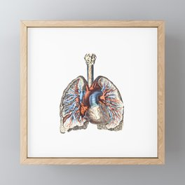 Fill Your Lungs. Vintage Colour Print Illustration Framed Mini Art Print