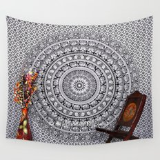 Black and White Hippie Elephant Tapestry Wall Hanging Wall Tapestry