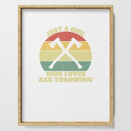 Axe Thrower Throwing Girl Serving Tray
