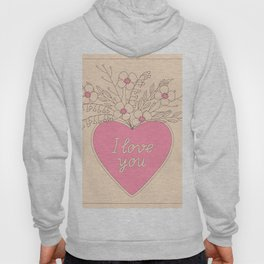 pink heart with flowers Hoody