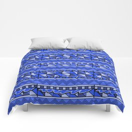 Latin American Pattern Blue. Zigzag Squares Triangle Patterns. Mexican Art. Funky Comforters