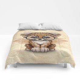 Cute Leopard Cub Fairy Wearing Glasses Comforters