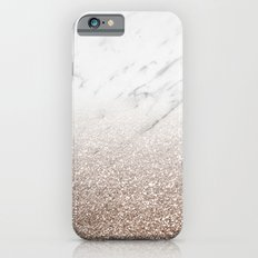 Glitter ombre - white marble & rose gold glitter Slim Case iPhone 6