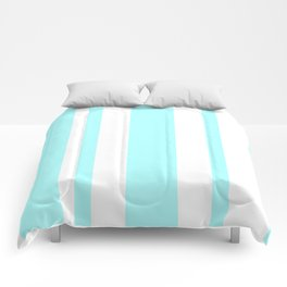 Mixed Vertical Stripes - White and Celeste Cyan Comforters