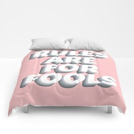 Girly Rules Are For Fools Quote on Pink Background Comforters