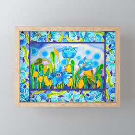 Blue Poppies 1 with Border Framed Mini Art Print