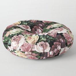 Vintage & Shabby chic - dark retro floral roses pattern Floor Pillow