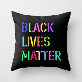 Black Lives Matter Colorful Stencil 1 Throw Pillow